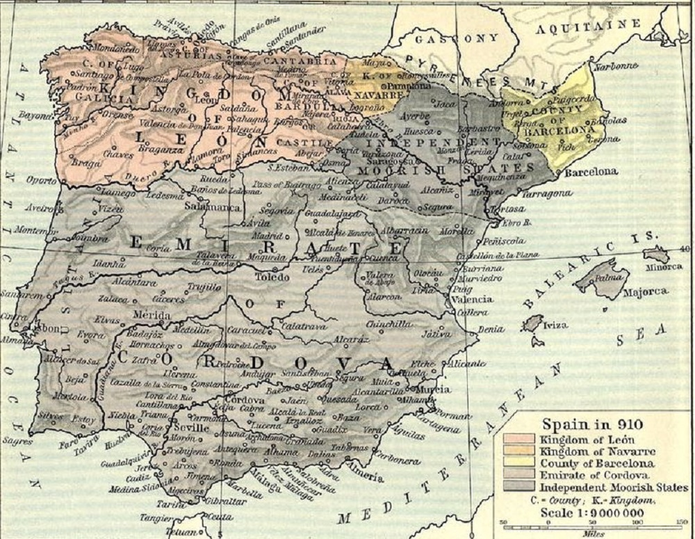 Map Of Spain 8th Century.Al Andalus 9th Century