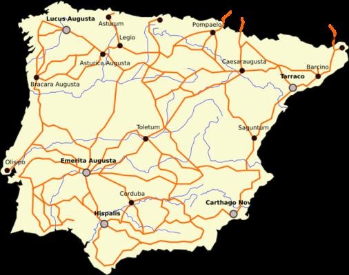 Roman Roads in Spain/Hispania.