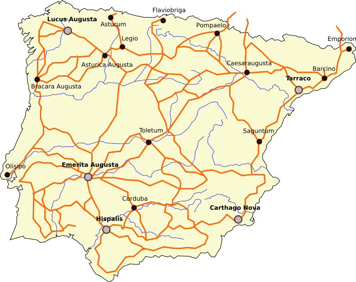 Map Of Spain 8th Century.Roman Roads In Spain Hispania