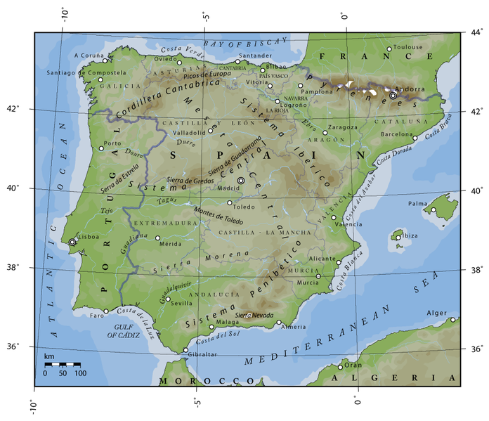 Map Of Spain 8th Century.Spain The Meseta
