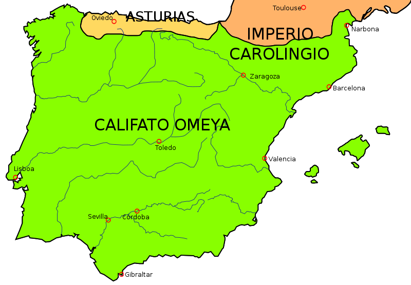 Map Of Spain 8th Century.Al Andalus 8th Century Invasion