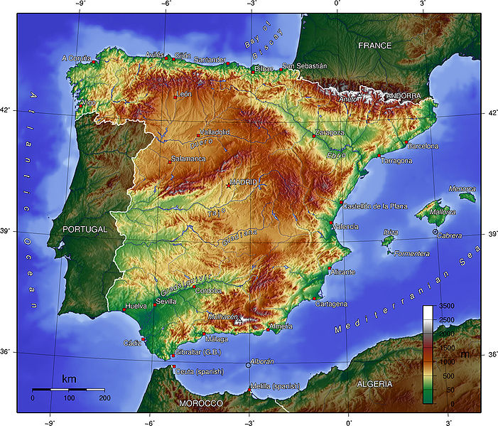 Map Of Spain Mountains.Mountains In Spain