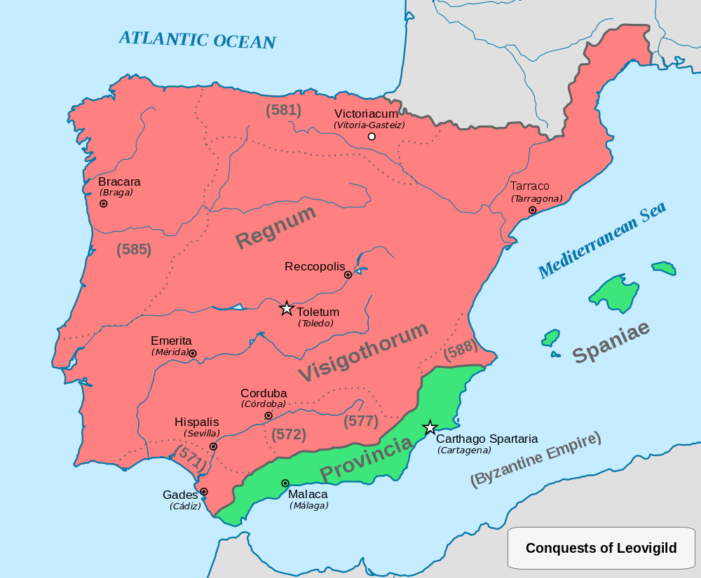 Map Of Spain 8th Century.Visigoths In Spain Arrival And Legacy