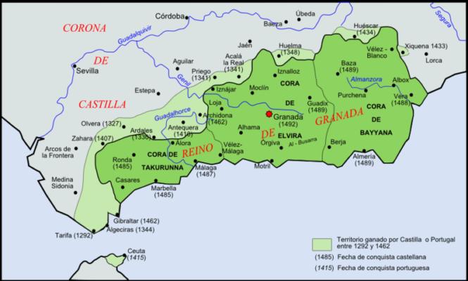 Map Of Spain 1492.Conquest Of Granada